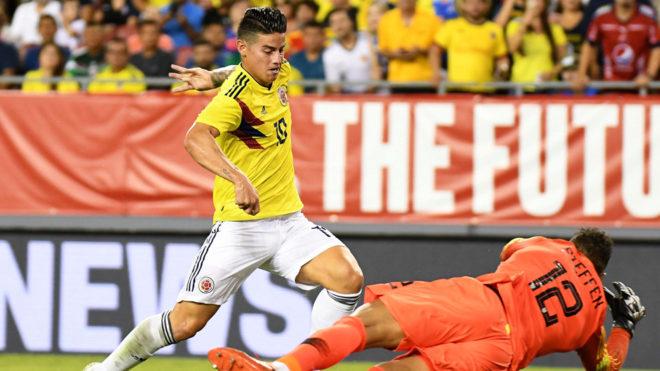 James Rodríguez se reivindica y Colombia se da una alegría