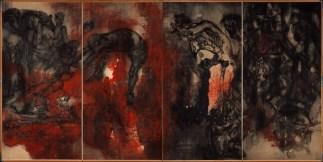 """Maruki Iri & Toshi, Fuego (Panel II) de la serie """"Páneles de Hiroshima"""" (series de 15 páneles), 1950-82 Galería Maruki, Higashi-Matsuyama, Saitama, Japón, 180 x 720 cm, Galería Maruki para la Fundación The Hiroshima Panels Foundation"""