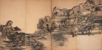 """Maruki Iri & Toshi, Fuego (Panel III) de la serie """"Páneles de Hiroshima"""" (series de 15 páneles), 1950-82 Galería Maruki, Higashi-Matsuyama, Saitama, Japón, 180 x 720 cm, Galería Maruki para la Fundación The Hiroshima Panels Foundation"""