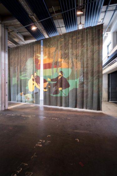 Beatriz González, Telón de la móvil y cambiante naturaleza (Drop curtain of mobile and changing nature), 1978, acrylic on canvas, Neue Neue Galerie (Neue Hauptpost), Kassel, documenta 14, photo: Mathias Völzke