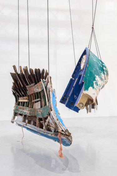 Guillermo Galindo, Fluchtzieleuropahavarieschallkörper, 2017, various materials, installation view, documenta Halle, Kassel, documenta 14, photo: Nils Klinger