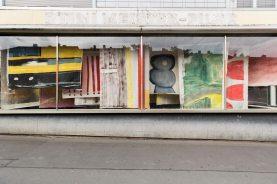 Vivian Suter, Nisyros (Vivian's bed), 2016–17, various materials, installation view, Glass Pavilions on Kurt-Schumacher-Strasse, Kassel, documenta 14, photo: Fred Dott