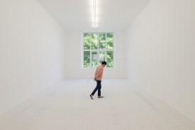 Jarbas Lopes, Elastic Painting, 2010-2017. Elástico, pintura acrílico, madera. 486 x 944 cm. Cortesía A Gentil Carioca & Luisa Strina. Foto Aurélien Mole
