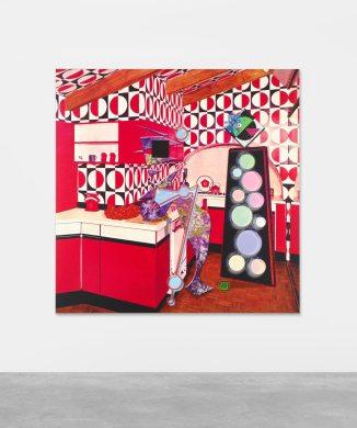 Ad Minoliti, Queer Deco, 2018. Pintura, impresión digital sobre lienzo, 150 x 150 cm, AM14831. Cortesía Peres Projects, Berlín. Foto: Matthias Kolb