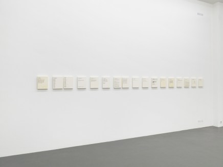 Emily Jacir, Inbox, 2004-2005, oil paint on wood, 21.6 × 27.9 cm each, courtesy the artist and Alexander and Bonin, Witte de With Center for Contemporary Art, 2018, photo by Kristien Daem.