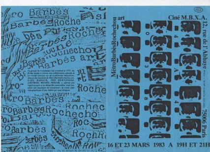 Métrobarbèsrochechou art, Flyer de la proyección de 4 a 4 Métrobarbèsrochechou art en el cine M.B.X.A, París, 1983.
