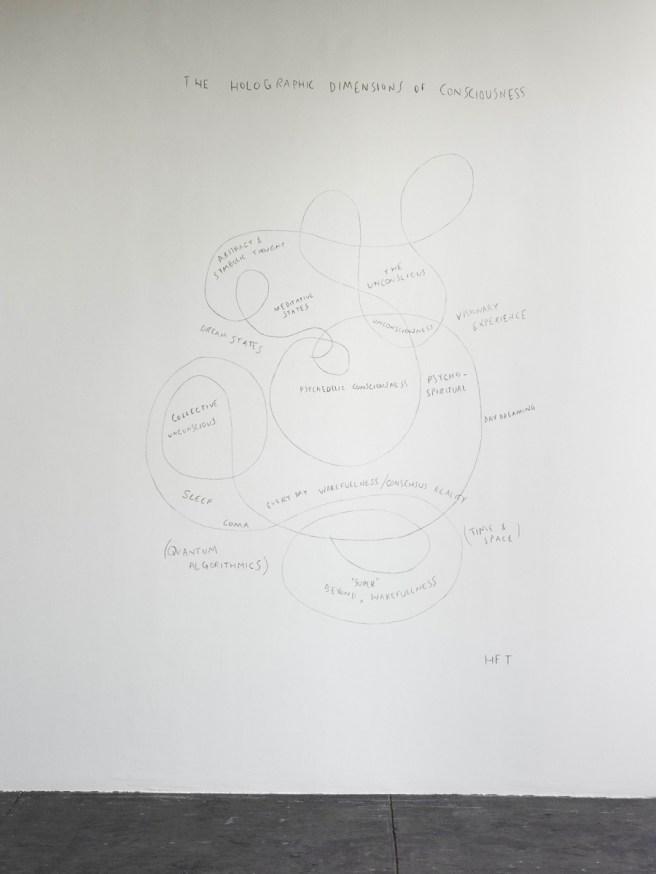 Visuales de la exposicion colectiva des attentions (cur. Brice Domingues, Catherine Guiral, Hélène Meisel), Centre d'art contemporain d'Ivry – le Crédac, 2019. Suzanne Treister, HFT The Gardener/Diagram, The holographic dimensions of consciousness, 2014-2015. Cortesia de l'artiste, Annely Juda Fine Art, Londres et P.P.O.W., New York. Photo : André Morin / le Crédac.