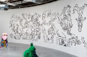 Shishir Bhattacharjee, DAAG TAMASHA, 2019, peinture acrylique Courtesy de l'artiste. Vista de la exposición «Prince-sse-s des villes», Palais de Tokyo (21.06 – 08.09.2019). Foto: Marc Domage
