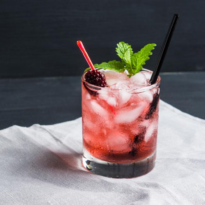 Refrescante coctel de zarzamora con arandano y vodka