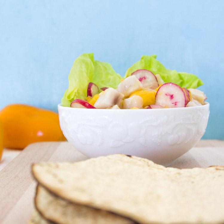Receta de ceviche con mango con chile manzano y rabano