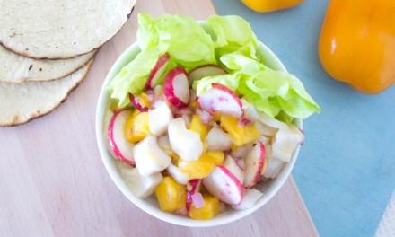 Ceviche de mango y manzano