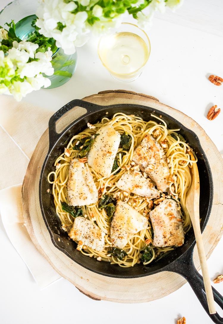 Receta de espagueti con pescado al limon