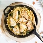 Espagueti con pescado al limón