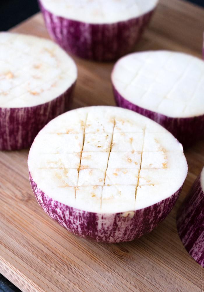 Berenjenas al horno con zaatar y queso feta