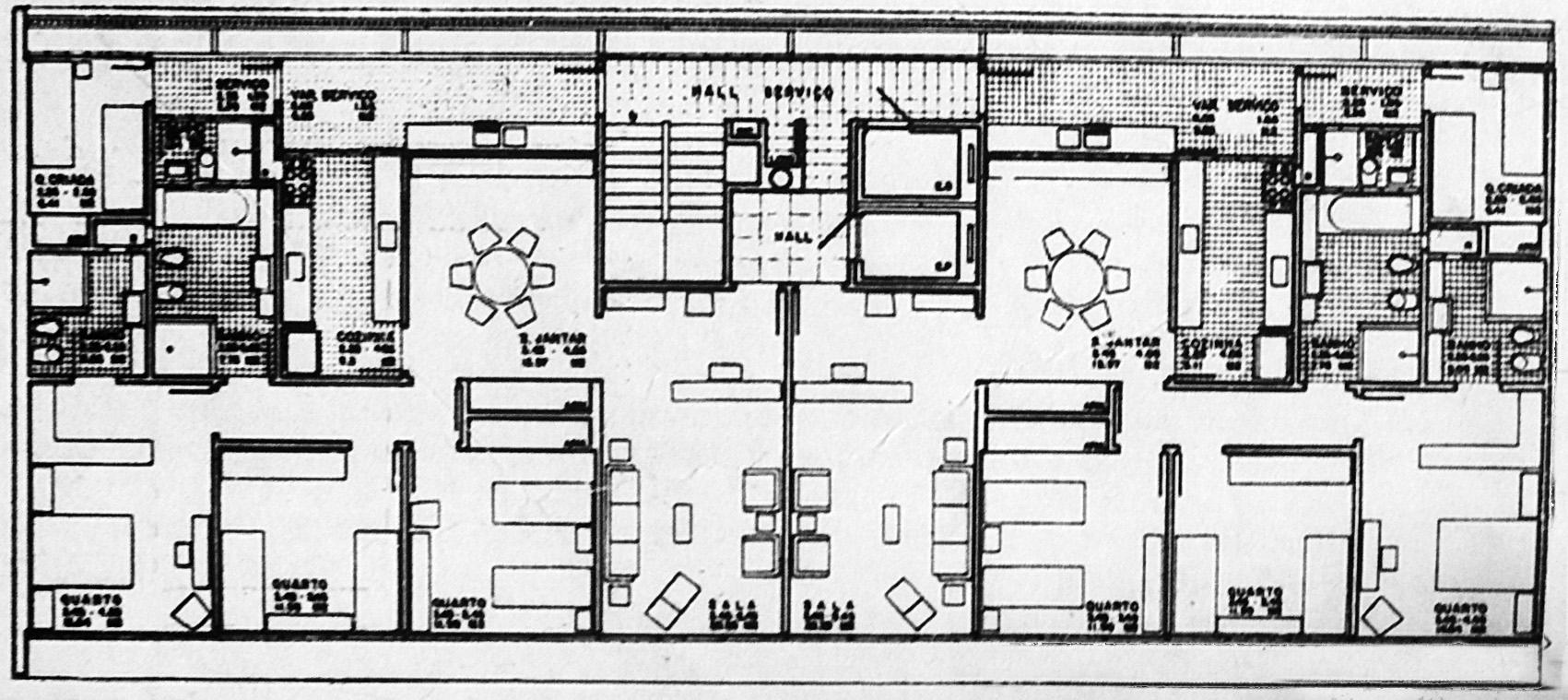 Planta de apartamento da SQS 308 (Marcelo Campello e Sérgio Rocha, 1959). Fonte - Revista Módulo n° 17, 1960, p.20