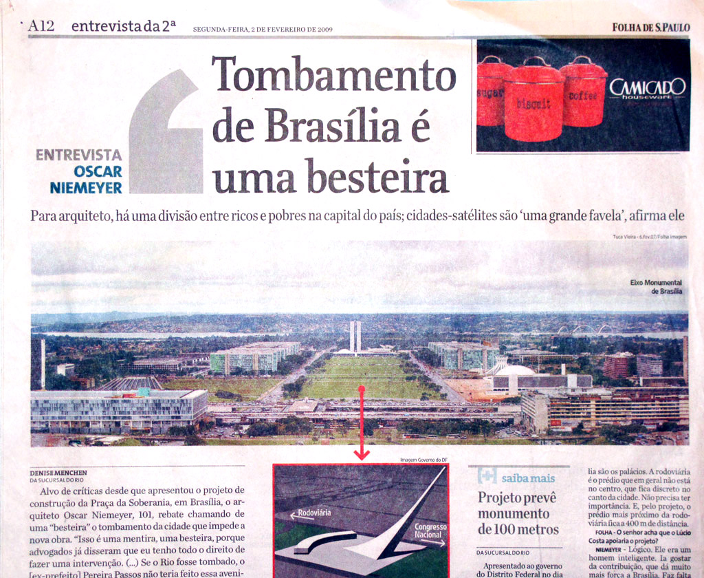Tombamento de Brasília é uma besteira