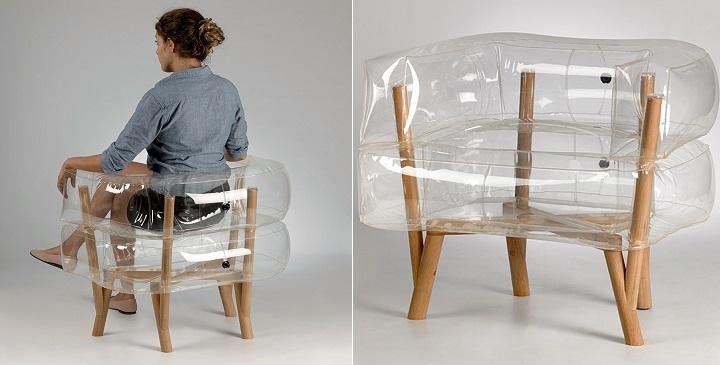 Sill n inflable con base de madera revista muebles - Como hacer un sillon de madera ...