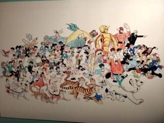 Um painel com todos os personagens do autor, feitos para um calendário.