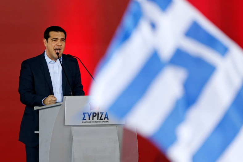 Opposition leader and head of radical leftist Syriza party,  Tsipras addresses supporters during a campaign in central Athens