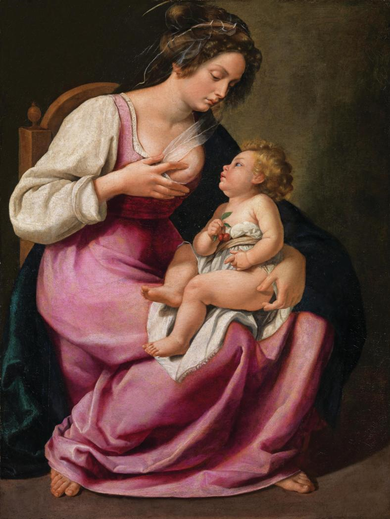 Female artists portrayed Mary in a very different light -- above,Artemisia Gentileschi's 1609 oil on canvas,Madonna and Child.</e