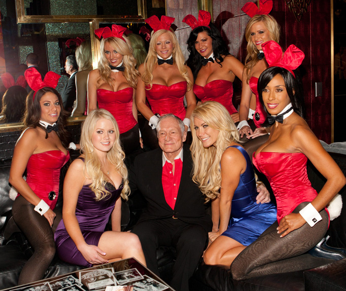 October 21, 2010: Anna Sophia Berglund, Hugh Hefner and Crystal Harris pictured surrounded by Playboy bunnies as Hugh Hefner hosts a party at The Playboy Club in The Palms Resort in Las Vegas, Nevada.Credit: INFevents.com Ref: infuslv-07|sp|