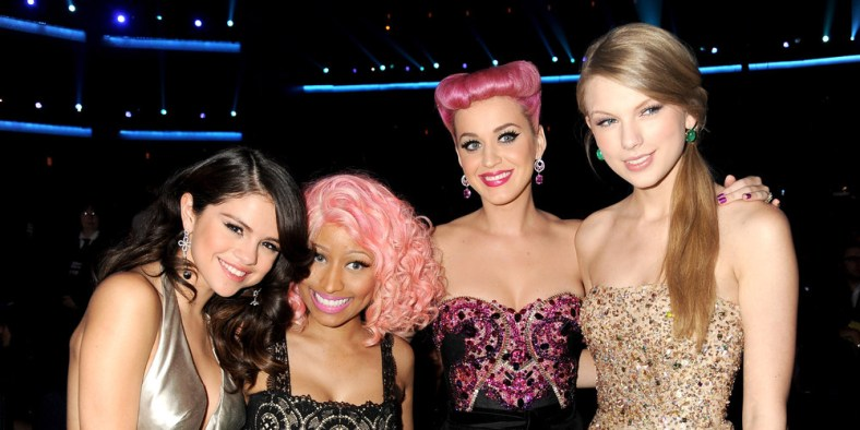 LOS ANGELES, CA - NOVEMBER 20: Selena Gomez, Nicki Minaj, Katy Perry and Taylor Swift in the audience at the 2011 American Music Awards at the Nokia Theatre L.A. LIVE on November 20, 2011 in Los Angeles, California. (Photo by Jeff Kravitz/AMA2011/FilmMagic)