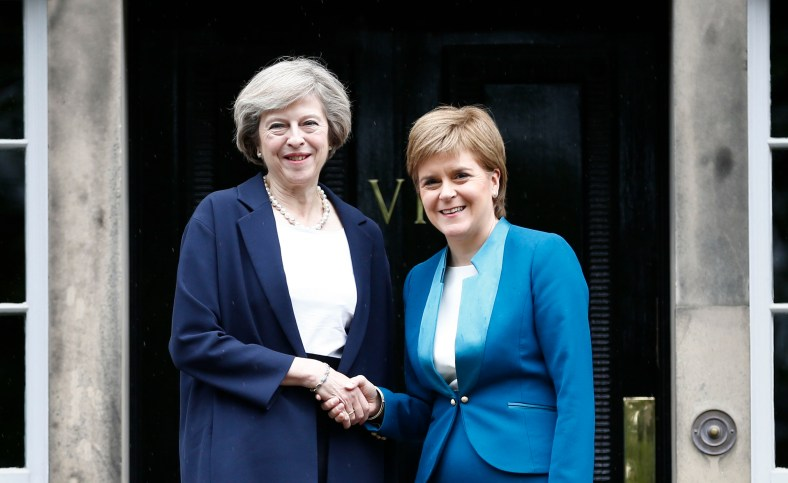"""The first minister greeted Mrs May on the steps of her official residence, Bute House, ahead of the meeting. Ms Sturgeon said she wanted to discuss options to protect Scottish interests, which she believes have been put """"at risk"""" by the UK's vote to leave the EU. Mrs May said her message was that the UK government was on the side of Scots. Speaking before her visit, the PM vowed to fully engage with the Scottish government on Brexit negotiations. She said: """"This visit to Scotland is my first as prime minister and I'm coming here to show my commitment to preserving this special union that has endured for centuries. """"And I want to say something else to the people of Scotland too: the government I lead will always be on your side. """"Every decision we take, every policy we take forward, we will stand up for you and your family - not the rich, the mighty or the powerful. """"That's because I believe in a union, not just between the nations of the United Kingdom, but between all of our citizens."""" Picture: Pool/Universal News And Sport (Scotland) 15/07/2016"""