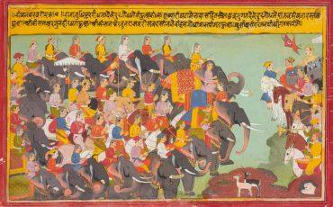 3 Os exércitos Pandava e Kaurava se enfrentam. Public Domain