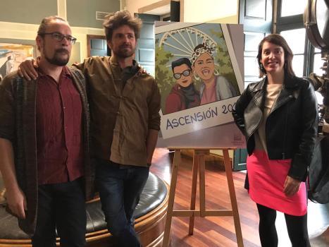 Abe Rábade, Davide Salvado e Branca Novoneyra, co cartel da Ascensión 2019.