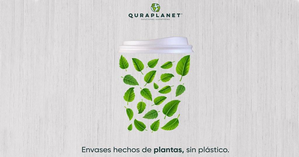 Un vaso biodegradable, hecho de bagazo de caña de azúcar, que una vez usado servirá como maceta para una plantita.