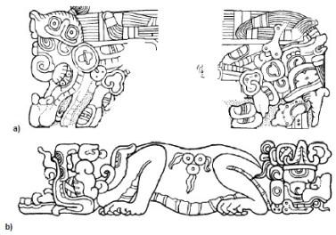 Piña-Investigación-Ethan A. Buendía Sánchéz-Figura 1. a) Monstruo Celeste en la Estela 25 de Piedras Negras, Guatemala, _ b) Monstruo Terrestre en el Altar D de Copán, Honduras,