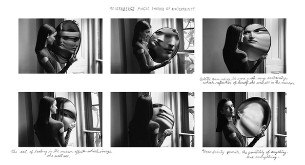 "Duane Michals, ""Dr. Heinsenberg's magic mirror of uncertainty""."