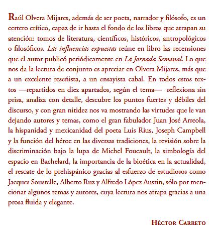 Palabras de Héctor Carreto para la contraportada.