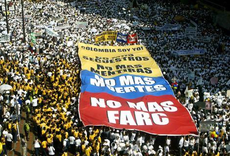 Manifestación contra las FARC en Cali, Colombia.