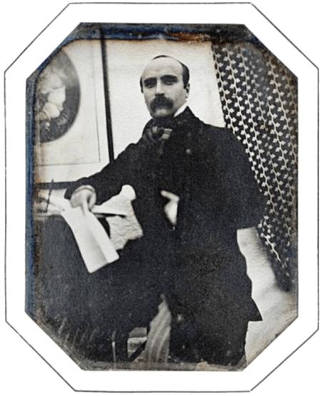 Gustave Flaubert aproximadamente en 1850, daguerrotipo 10x8 cm. Retrato poco conocido de un Flaubert joven, el que podemos imaginar viajando por Egipto.
