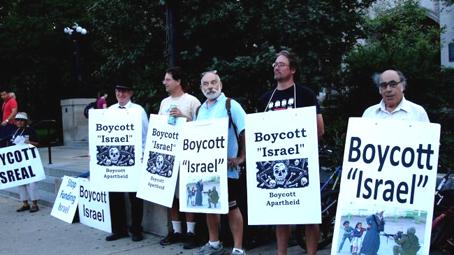 integrantes de la ASA en la campaña internacional de Boicot, Desinversión y Sanciones (BDS) contra las universidades israelíes. Foto © Palestinalibre.org