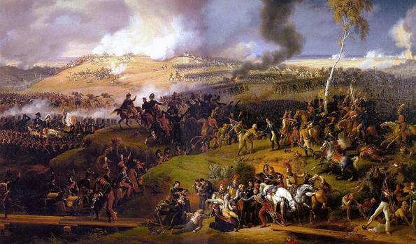 La batalla de Borodinó es uno de los principales acontecimientos históricos en torno a los cuales gira gran parte de Guerra y paz. Tuvo lugar el 7 de septiembre de 1812 y en ella tomaron parte más de 250 mil hombres, con cerca de 70 mil bajas; fue un hecho fundamental en el fallido intento de Napoleón por tomar Rusia. Pintura de Louis-François Lejeune, 1822.