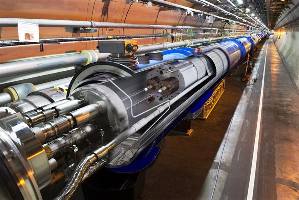 El gran colisionador de hadrones en el CERN, Suiza.