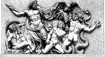 Zeus omnipotente (Bildhuggarkonst, Zeus och giganterna, från Pergamon, Nordisk familjebok).