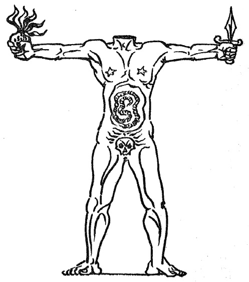 """El acéfalo de Masson: """"La figura carecía de cabeza: ésa era su divinidad, o, lo que es lo mismo, su monstruosidad"""" (ELH, p. 15)."""