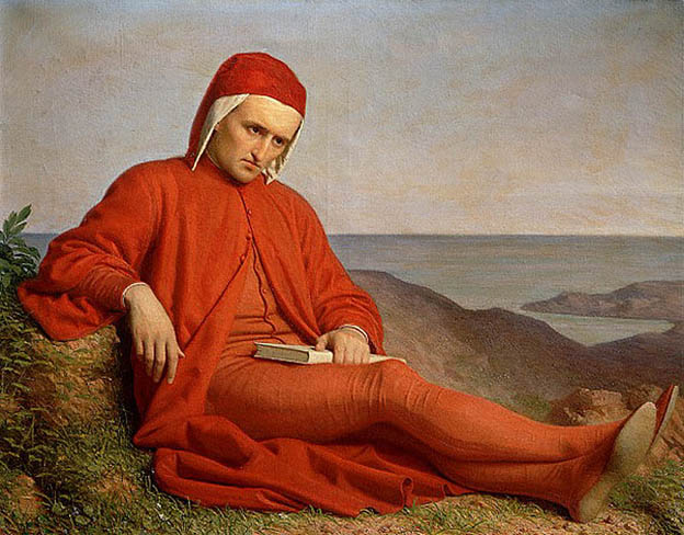 Dante en el exilio, atribuido a Domenico Peterlini (1822–1891).