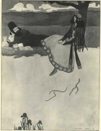 El rubai XII según Gilbert James (The Sketch, diciembre de 1896).