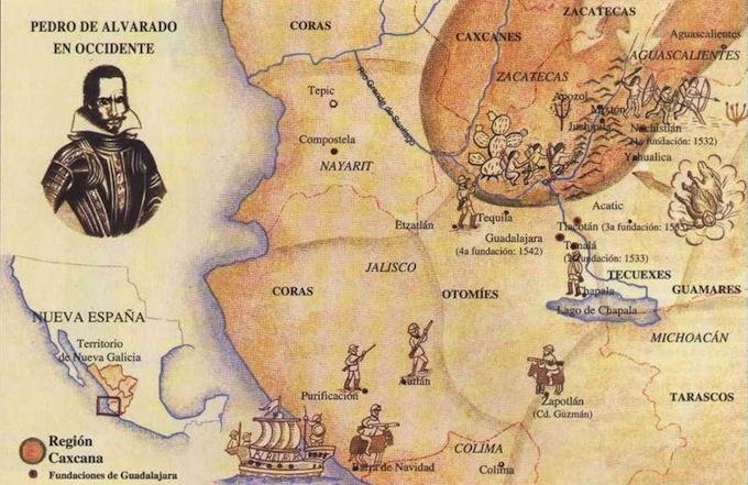 El mapa de la conquista del actual territorio de Jalisco.