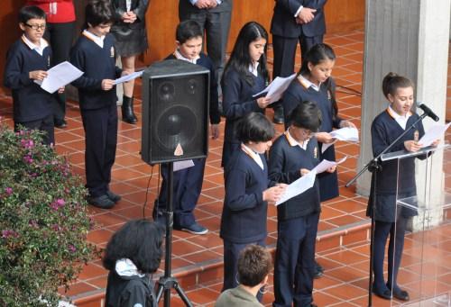 El alumnado de 1º ESO B, durante el acto conmemorativo