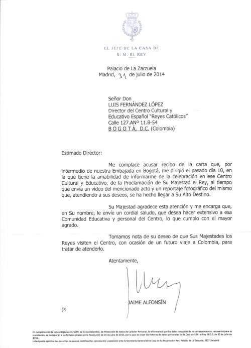 Carta enviada desde el Palacio de la Zarzuela y recibida a través del Señor Embajador de España en Colombia, Don Ramón Gandarias Alonso de Celis