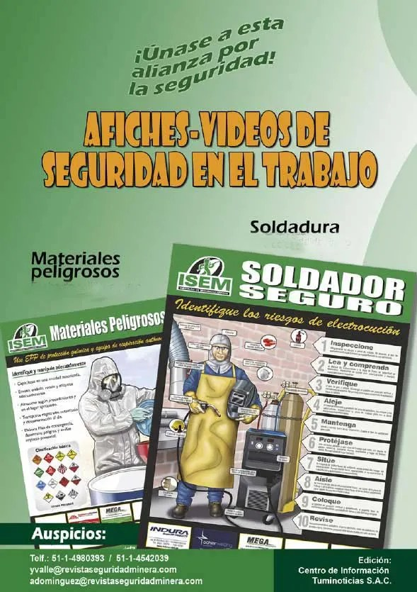 Promoción de afiches de seguridad en materiales peligrosos y soldadura