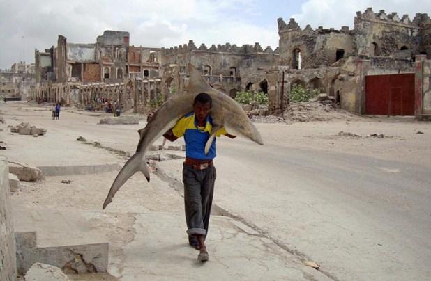 Omar Feisal (Somalia, W.P.F., 1er lugar, categoría: Foto única de vida cotidiana) / Hombre cargando un tiburón por las calles de Mogadishu, Somalia, 2010.