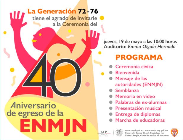 ENMJN: 40 Aniversario de egreso