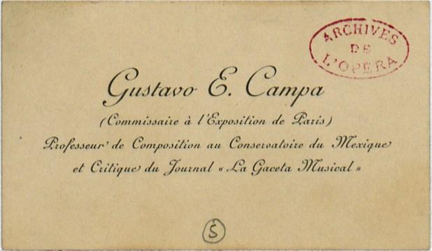 Tarjeta de presentación (en francés) de Gustavo E. Campa