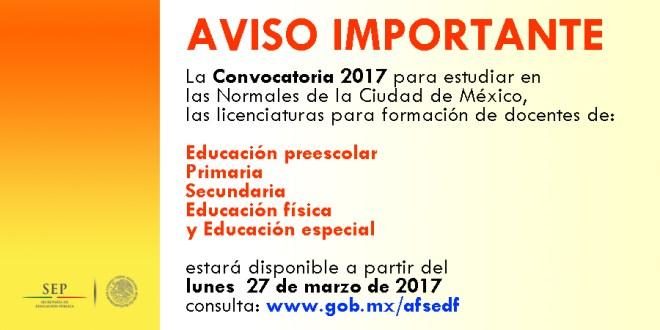 Aviso convocatoria para estudiar en las normales de la for Convocatoria de docentes 2017